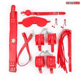 Большой набор БДСМ в красном цвете: маска, кляп, зажимы, плётка, ошейник, наручники, оковы
