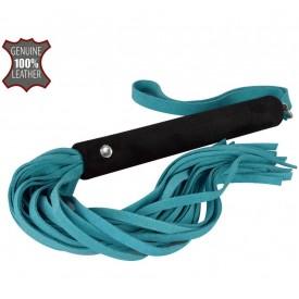 Голубая многохвостая велюровая плеть - 40 см.