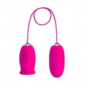 Розовое виброяйцо с клиторальным стимулятором на сцепке Daisy